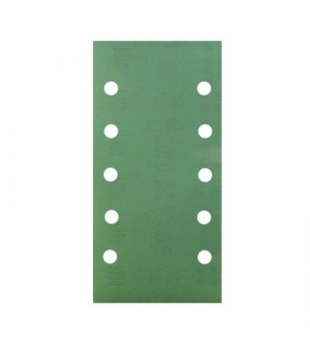 56405 Абразивные полоски 70 Х 198 мм на липучке 8 отв., зеленая Р60