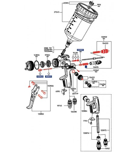 134031 SATA Рукоятка регулятора факела с потайным винтом для SATAjet 3000