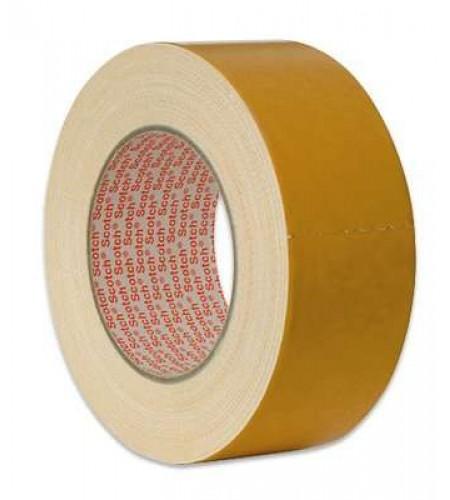 Лента клейк. двустор., основа - тканевая, адгезив - каучук., цвет - белый  50 ММ Х 25М