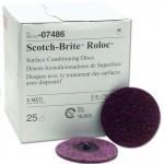 07486 Зачистной круг Scotch-Brite™ Roloc  (красный, средний) D=75мм